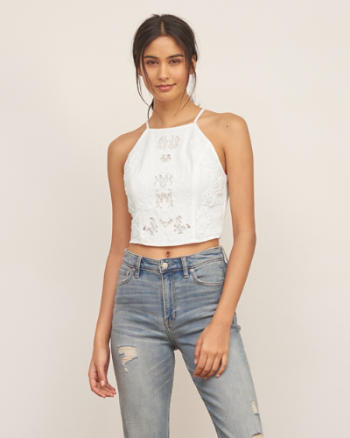 Womens Applique Lace Crop Top
