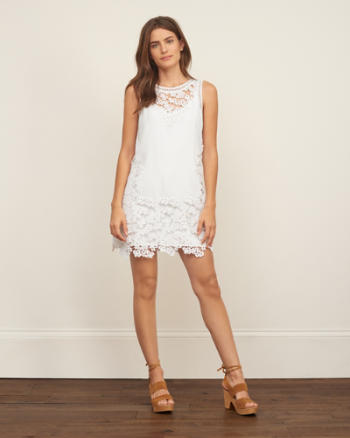 Womens Floral Lace Shift Dress