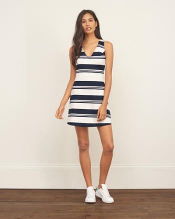Womens Striped Neoprene Skater Dress