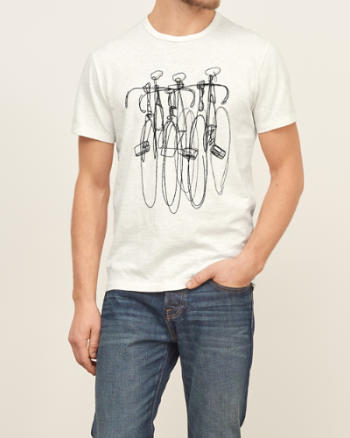 Mens Embroidered Bike Graphic Tee