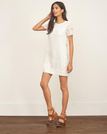 Womens Embroidered Lace Shift Dress