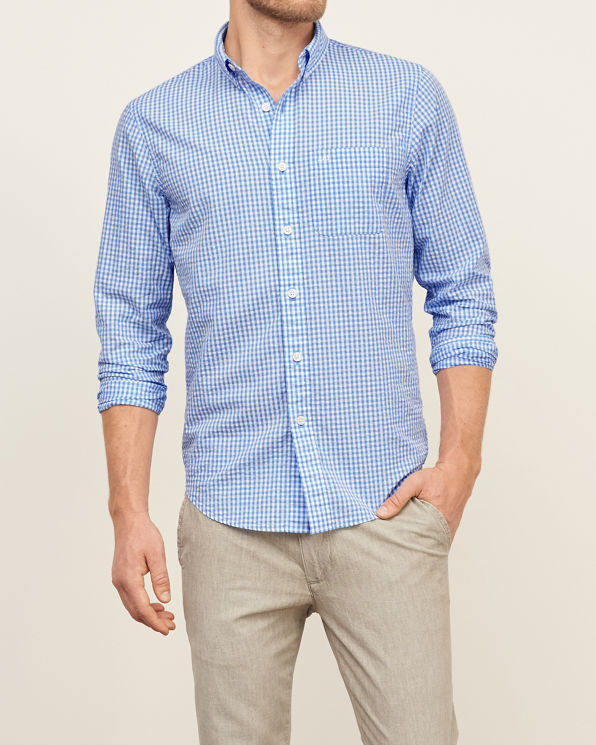Mens check seersucker shirt mens new arrivals for Mens seersucker shirts on sale