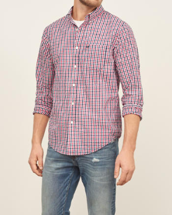 Mens Check Seersucker Shirt
