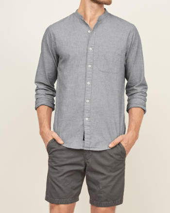 Mens Band Collar Nep Pocket Shirt
