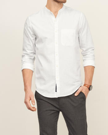Mens Band Collar Nep Shirt