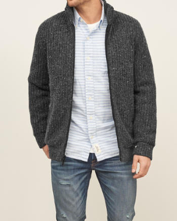 Mens Mock Neck Full Zip Sweater