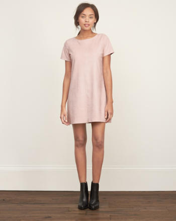 Womens Faux Suede Shift Dress