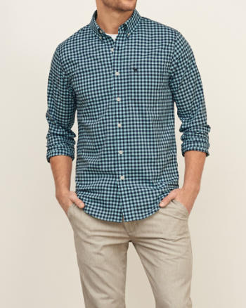 Mens Gingham Poplin Shirt