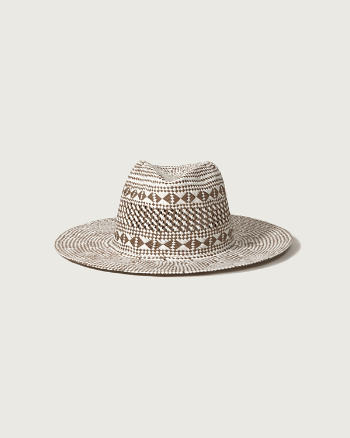 Womens Woven Two-Tone Panama Hat