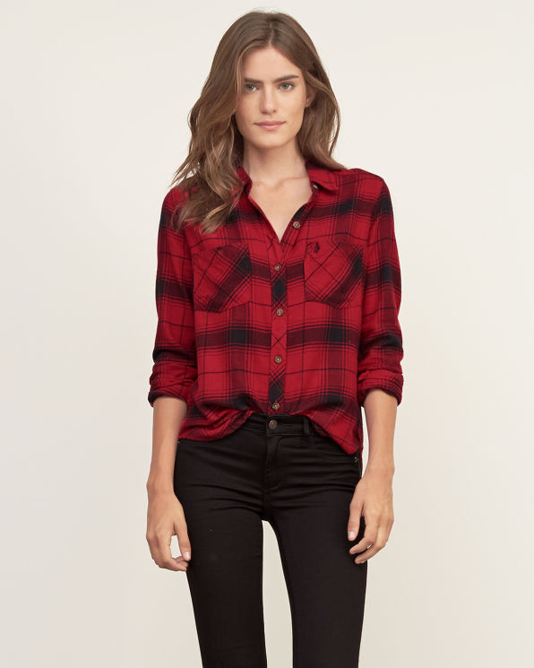Womens plaid flannel shirt womens the trend edit for Womens plaid flannel shirts
