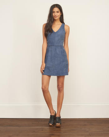 Womens Faux Suede A-Line Dress