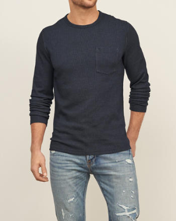 Mens Jacquard Knit Pocket Crew