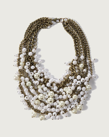 Womens Faux Pearl Bauble Necklace