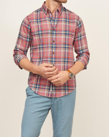 Mens Madras Plaid Shirt