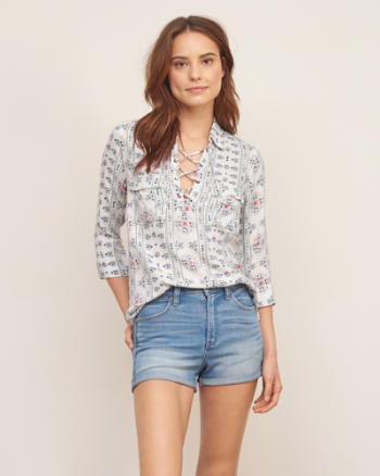 Womens Pattern Lace Up Shirt