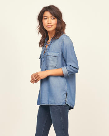 Womens Chambray Lace Up Tunic
