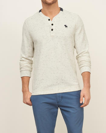 Mens Textured Fleece Henley
