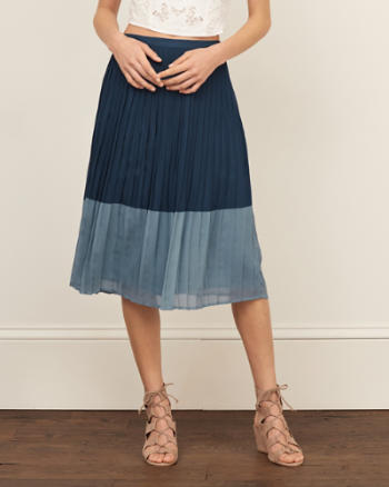 Womens Colorblock Midi Skirt