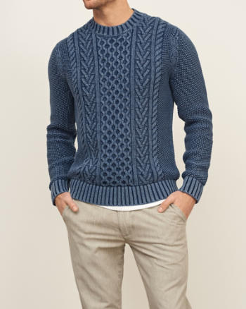 Mens Aran Crewneck Sweater