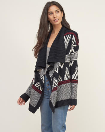 Womens Patterned Non Closure Cardigan