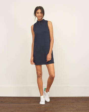 Womens Mockneck Shift Dress