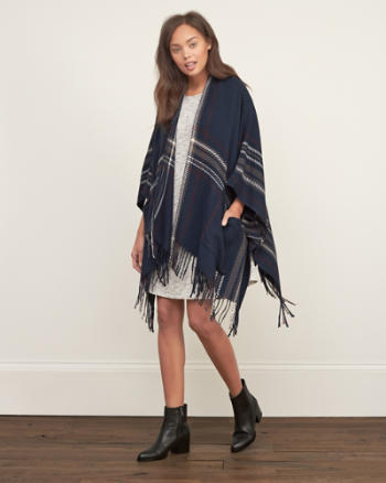 Womens Patterned Blanket Poncho