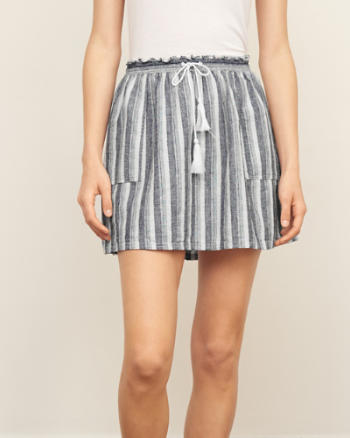 Womens Striped Linen Skater Skirt