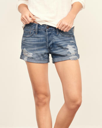 Womens Low Rise Boyfriend Shorts
