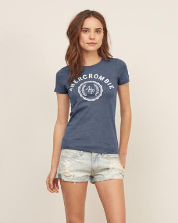 Womens Applique Logo Graphic Tee
