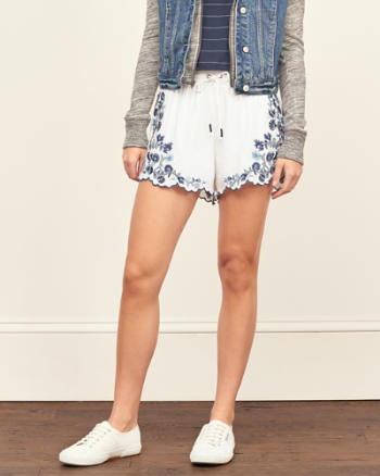 Womens Embroidered Soft Shorts