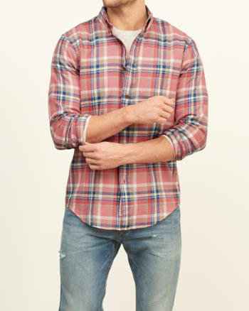 Mens Classic Fit Madras Shirt