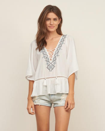 Womens Tassle Peasant Blouse
