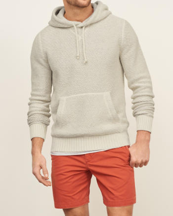 Mens Textured Pullover Hoodie
