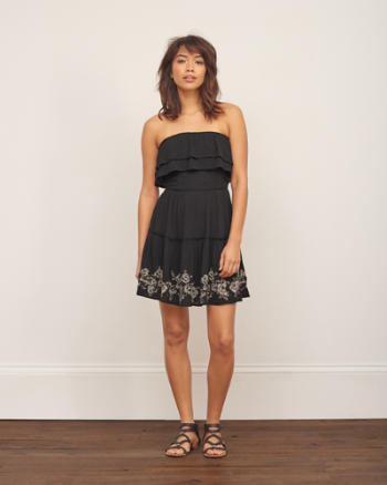 Womens Strapless Ruffled Dress