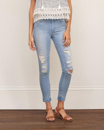 Womens High Rise Ankle Super Skinny Jeans