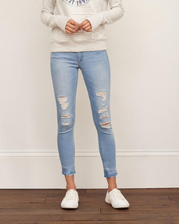 Womens Low Rise Ankle Super Skinny Jeans