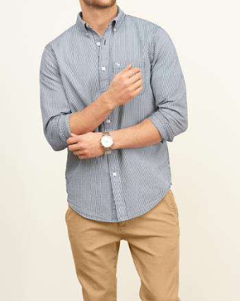 Mens Classic Fit Seersucker Shirt