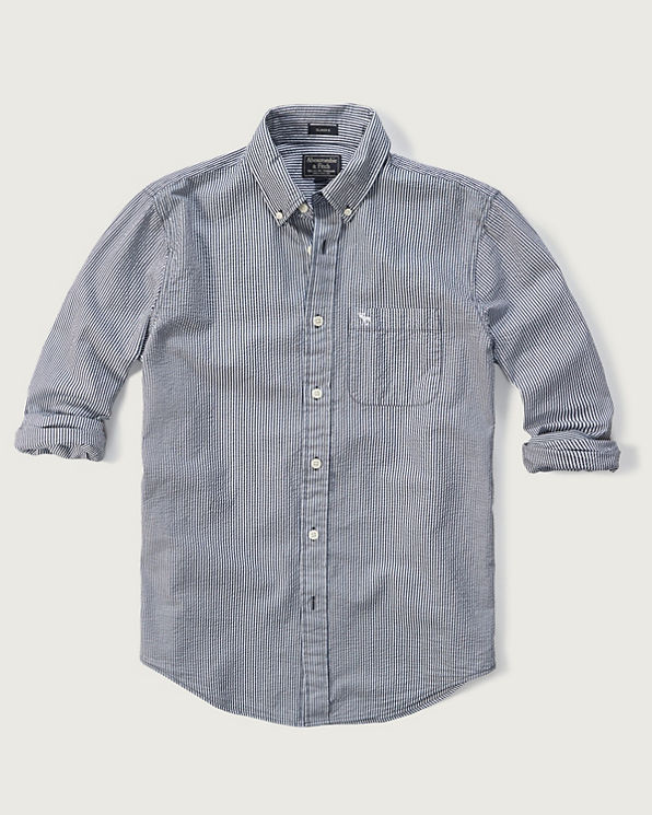Mens classic fit seersucker shirt mens tops for Mens seersucker shirts on sale