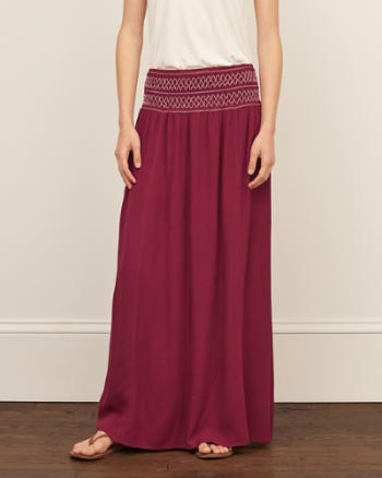 Womens Smocked Maxi Skirt