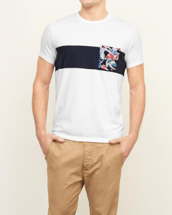 Mens Floral Pocket Tee