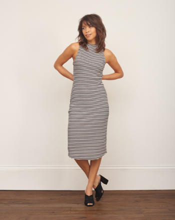 Womens Mock Neck Midi Dress