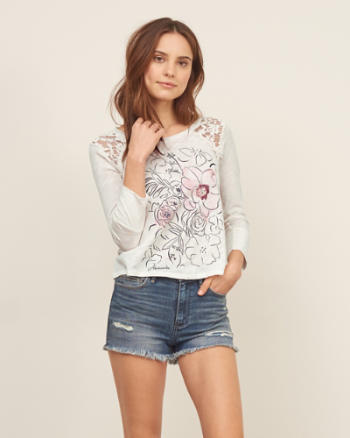 Womens Lace Panel Graphic Tee