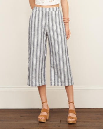 Womens Wide Leg Stripe Pants
