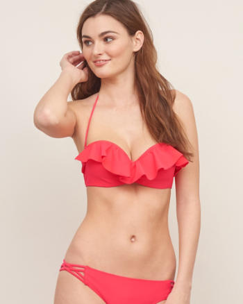 Womens Perfect Push-Up Ruffle Bandeau Top