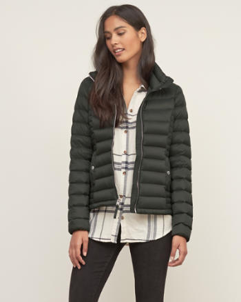 Womens A&F Down Series Lightweight Puffer Jacket