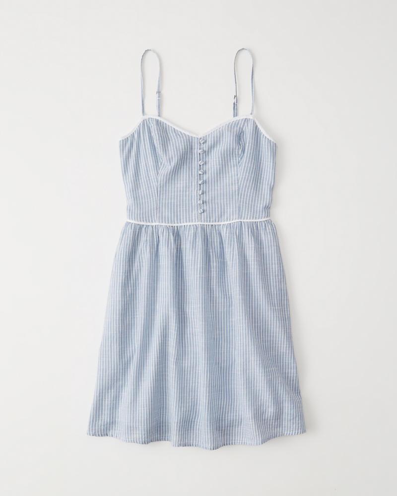 Button-Front Skater Dress | Abercrombie.cn