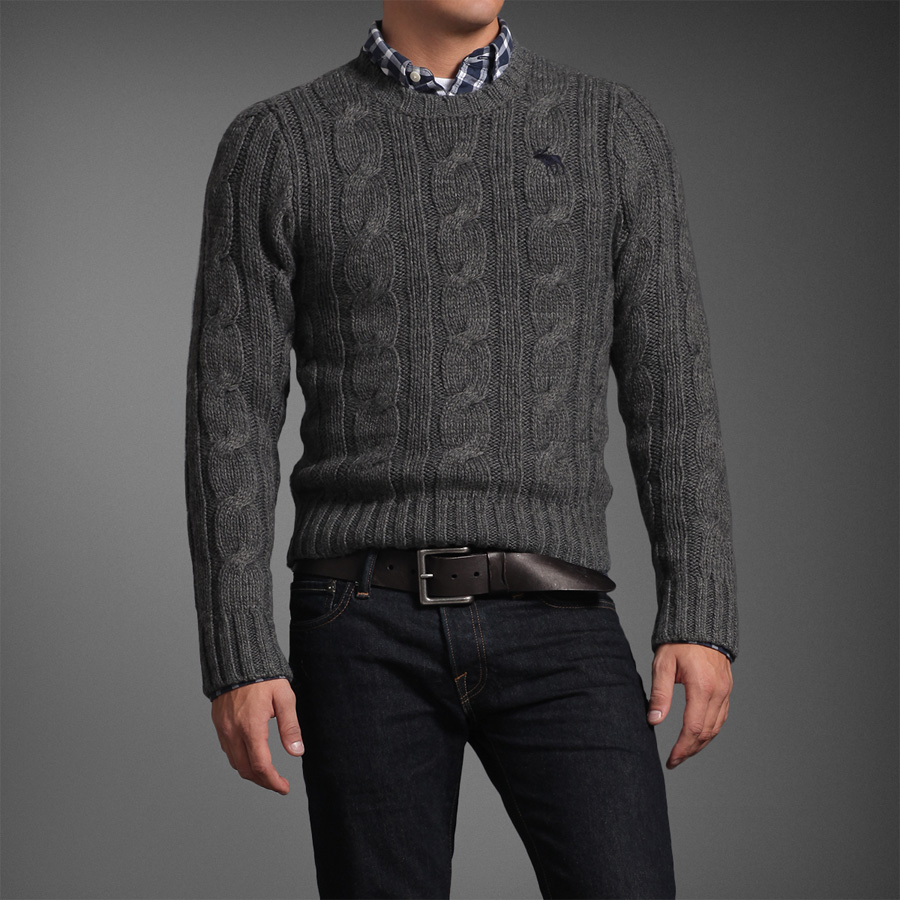 Navy Wool Cable Knit Cardigan 106