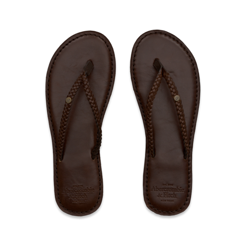 A TOTAL NATURAL Classic Leather Flip Flops