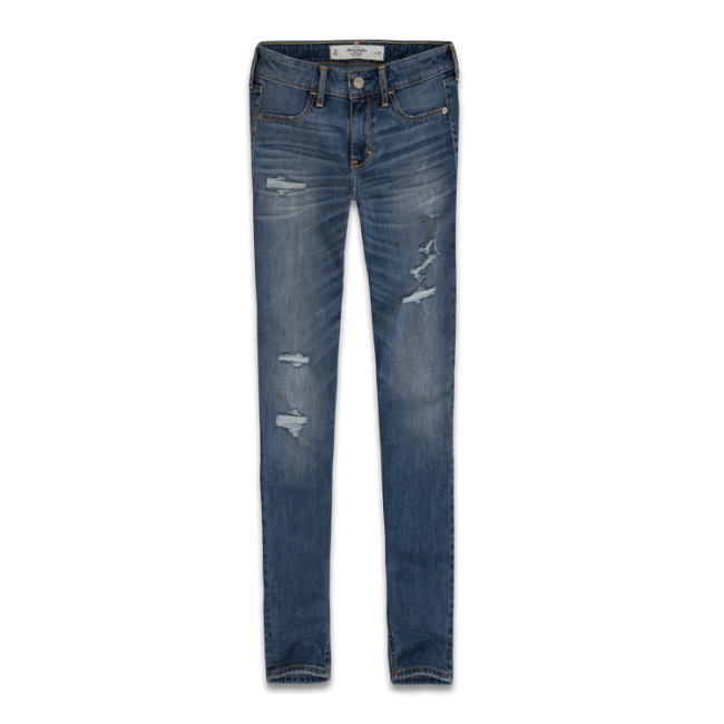 Womens A&F Mid Rise Super Skinny Ankle Jeans