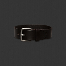 Mens Rugged Leather Logo Bracelet